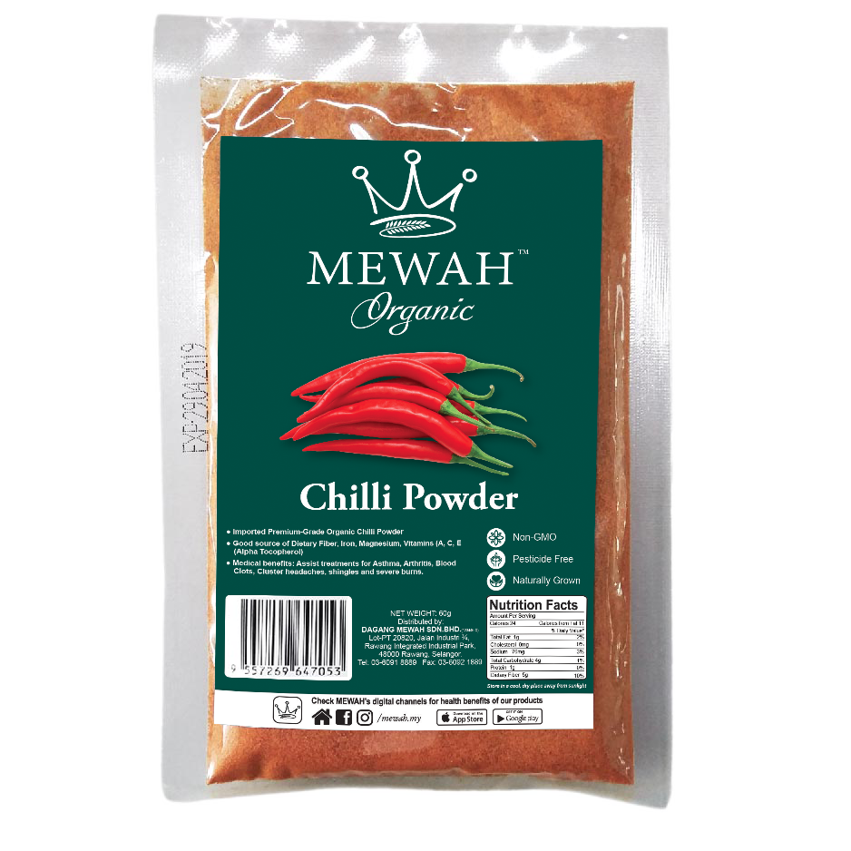 Mewah Organic Chilli Powder 60g